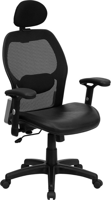 High Back Super Mesh Office Chair with Black Italian Leather Seat , #FF-0026-14
