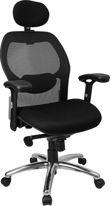 High Back Super Mesh Office Chair with Black Fabric Seat and Knee Tilt Control , #FF-0028-14