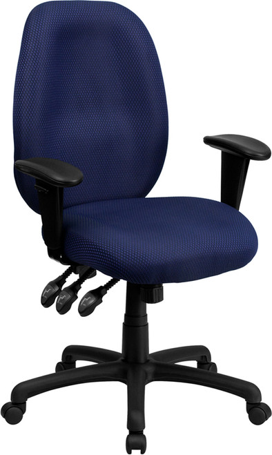 High Back Navy Fabric Multi-Functional Ergonomic Task Chair with Arms , #FF-0323-14