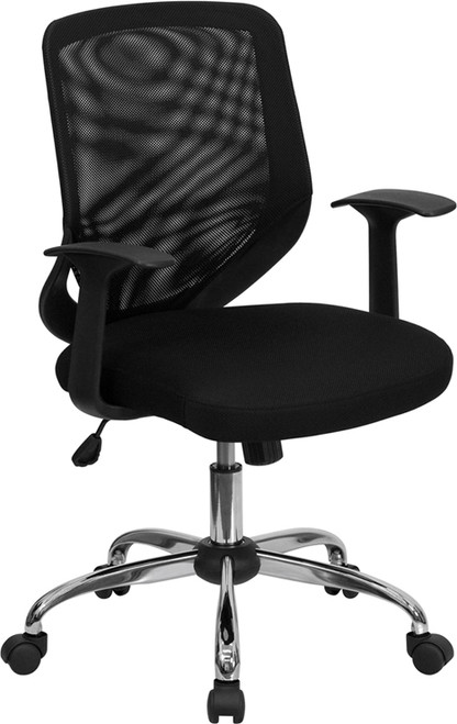 Mid-Back Black Mesh Office Chair with Mesh Fabric Seat , #FF-0020-14