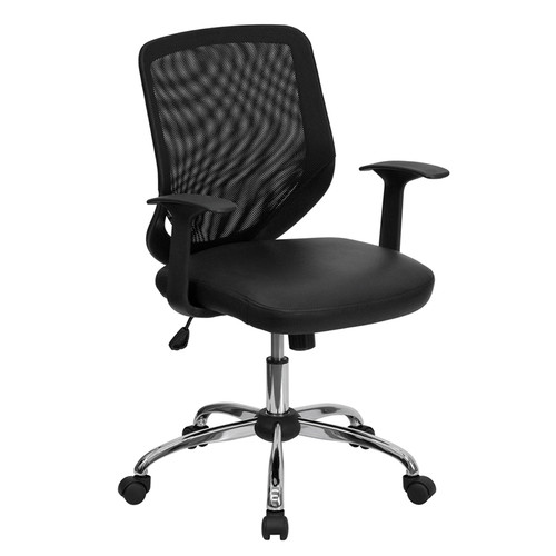 Mid-Back Black Office Chair with Mesh Back and Italian Leather Seat , #FF-0021-14