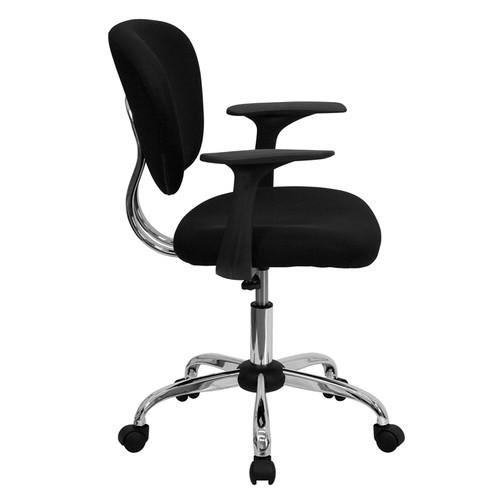 Mid-Back Black Mesh Task Chair with Arms and Chrome Base , #FF-0096-14