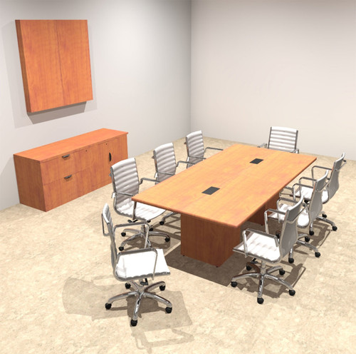 Modern Rectangular Top Cube Leg 8' Feet Conference Table, #OF-CON-CS3