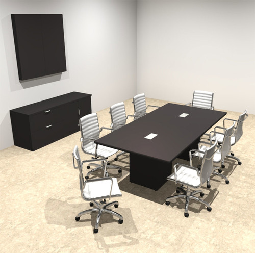Modern Rectangular Top Cube Leg 8' Feet Conference Table, #OF-CON-CS7