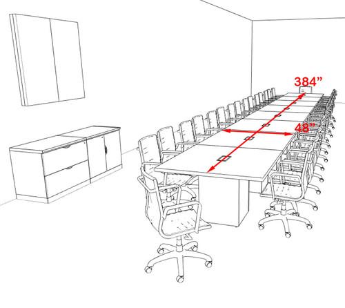 Modern Rectangular Top Cube Leg 32' Feet Conference Table, #OF-CON-CS52