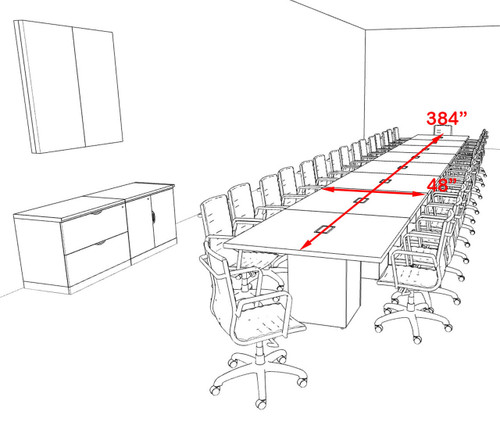 Modern Rectangular Top Cube Leg 32' Feet Conference Table, #OF-CON-CS53