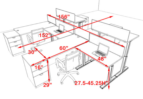 Four Persons Modern Power Height Adjustable Divider Workstation, #OT-SUL-SPH19