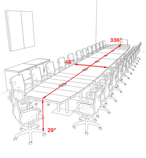 Modern Boat Shaped Steel Leg 28' Feet Conference Table, #OF-CON-CM88