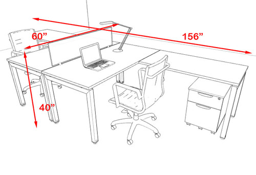 Two Person Modern Divider Office Workstation Desk Set, #OF-CON-FP11