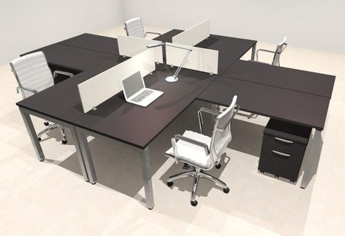 Four Person Modern Divider Office Workstation Desk Set, #OF-CON-FP31