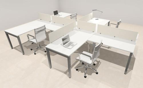 Four Person Modern Divider Office Workstation Desk Set, #OF-CON-SP9