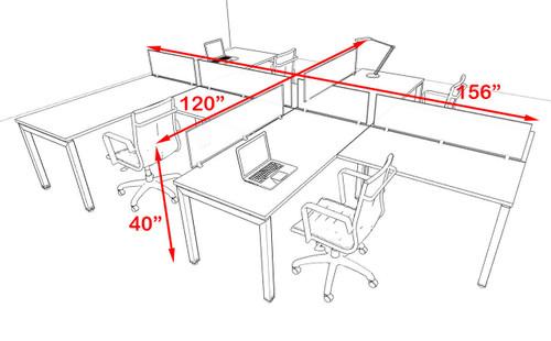 Four Person Modern Divider Office Workstation Desk Set, #OF-CON-SP10