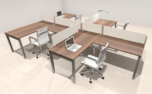 Four Person Modern Divider Office Workstation Desk Set, #OF-CON-SP12