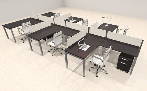 Six Person Modern Divider Office Workstation Desk Set, #OF-CON-SP47