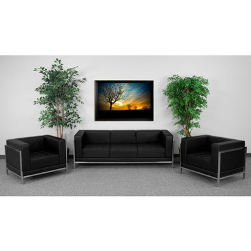 3pc Modern Leather Office Reception Sofa Set, FF-0433-12-S3