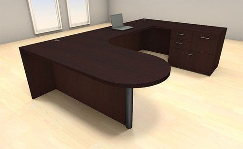 4pc U Shape Modern Executive Office Desk Set, #CH-AMB-U3