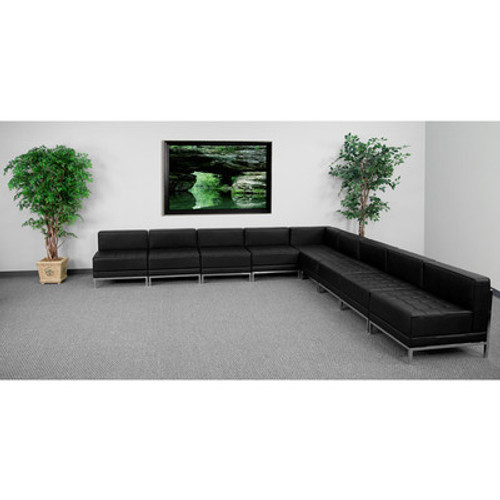9pc Modern Leather Office Reception Sectional Sofa Set, FF-0433-12-S14