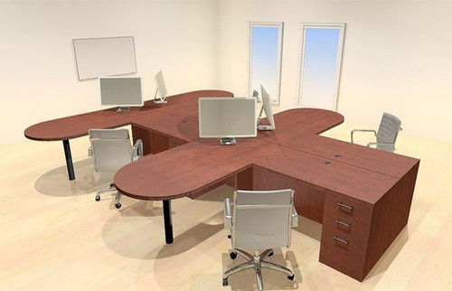 Four Persons Modern Executive Office Workstation Desk Set, #CH-AMB-S21