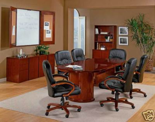 New 8' Feet Wood Racetrack Conference Table, #CH-RUB-C2