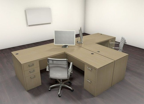 Two Persons Modern Executive Office Workstation Desk Set, #CH-AMB-S5