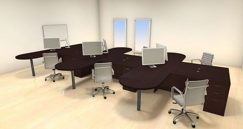 Six Persons Modern Executive Office Workstation Desk Set, #CH-AMB-S27