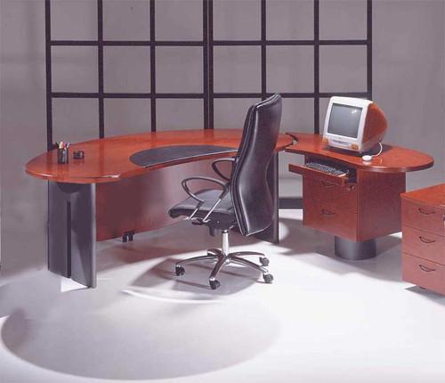 Genial 2PC Contemporary Oval Executive Office Desk Set, #U UTM O2 (MAHOGANY ...