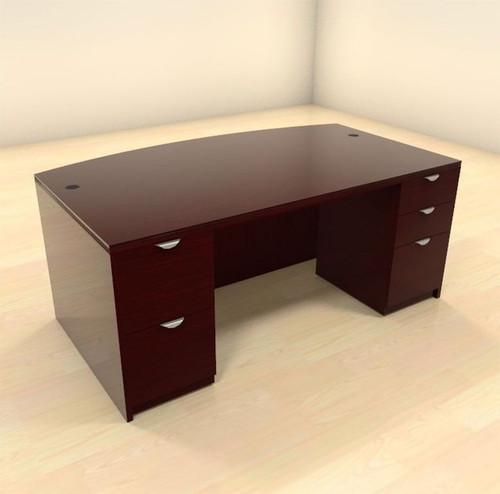 3pc Fan Front Modern Contemporary Executive Office Desk, #CH-JAD-D8