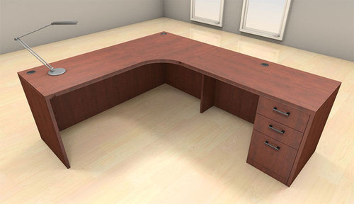 3pc L Shape Modern Executive Office Desk Set, #CH-AMB-L5