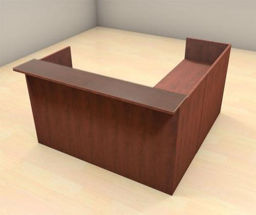 3pc L Shape Modern Glass Counter Reception Desk Set, #CH-AMB-R9