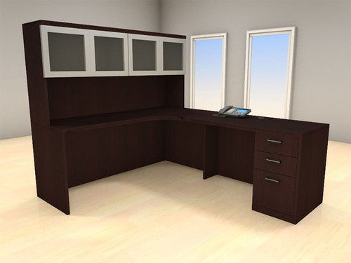 4pc L Shape Modern Executive Office Desk Set, #CH-AMB-L8