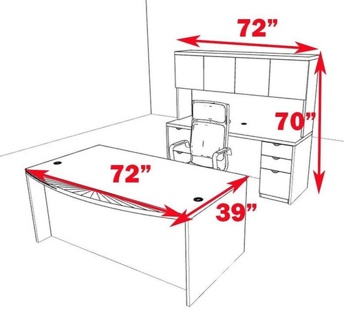 5pc Fan Front Modern Contemporary Executive Office Desk Set, #CH-JAD-D4