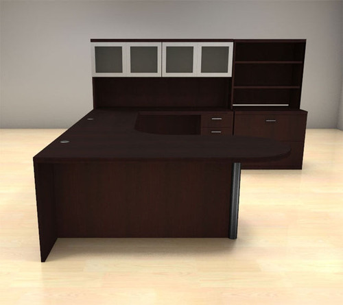 7pc U Shape Modern Executive Office Desk Set, #CH-AMB-U23