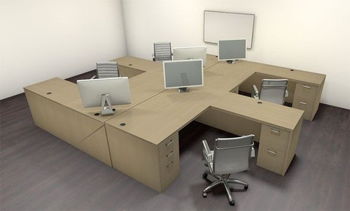Four Persons Modern Executive Office Workstation Desk Set, #CH-AMB-F10