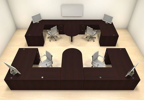Four Persons Modern Executive Office Workstation Desk Set, #CH-AMB-S62