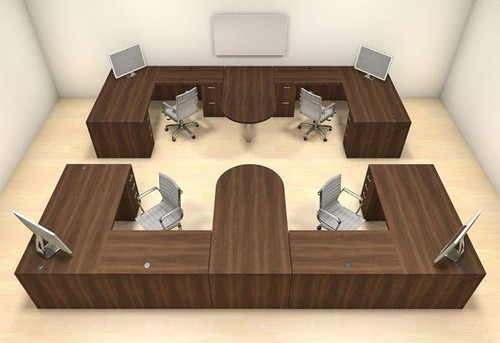 Four Persons Modern Executive Office Workstation Desk Set, #CH-AMB-S64