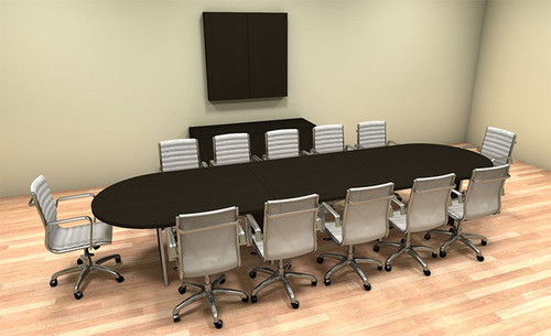 Modern Racetrack 14' Feet Conference Table, #CH-AMB-C19