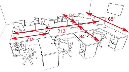 Six Persons Modern Executive Office Workstation Desk Set, #CH-AMB-F13