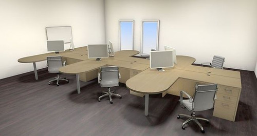 Six Persons Modern Executive Office Workstation Desk Set, #CH-AMB-S30