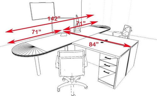 Two Persons Modern Executive Office Workstation Desk Set, #CH-AMB-S18