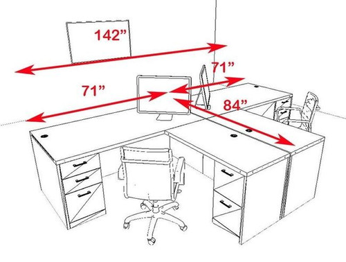 Two Persons Modern Executive Office Workstation Desk Set, #CH-AMB-S2