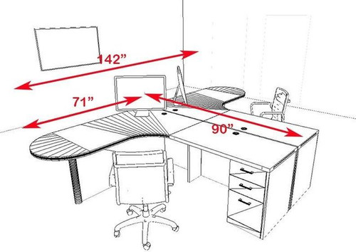 Two Persons Modern Executive Office Workstation Desk Set, #CH-AMB-S31