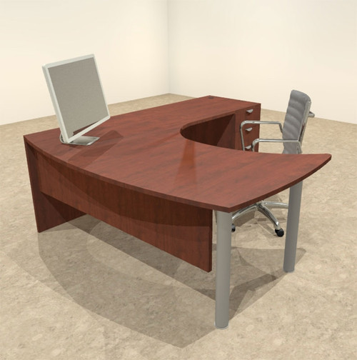 3pc L Shaped Modern Contemporary Executive Office Desk Set, #OF-CON-L12