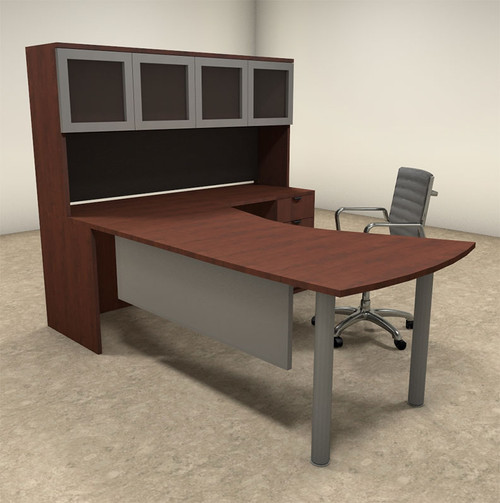4pc L Shaped Modern Contemporary Executive Office Desk Set, #OF-CON-L22
