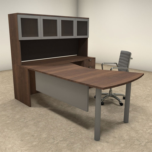 4pc L Shaped Modern Contemporary Executive Office Desk Set, #OF-CON-L24