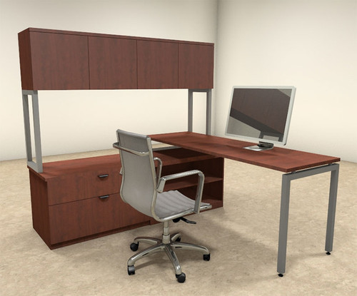 3pc L Shaped Modern Contemporary Executive Office Desk Set, #OF-CON-L37
