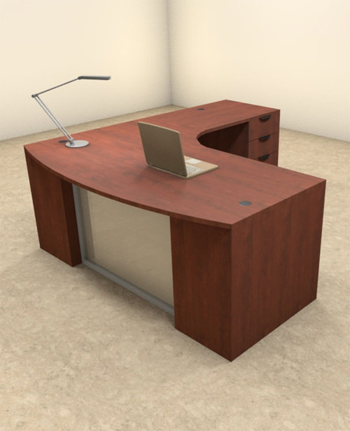 3pc L Shaped Modern Contemporary Executive Office Desk Set, #OF-CON-L57