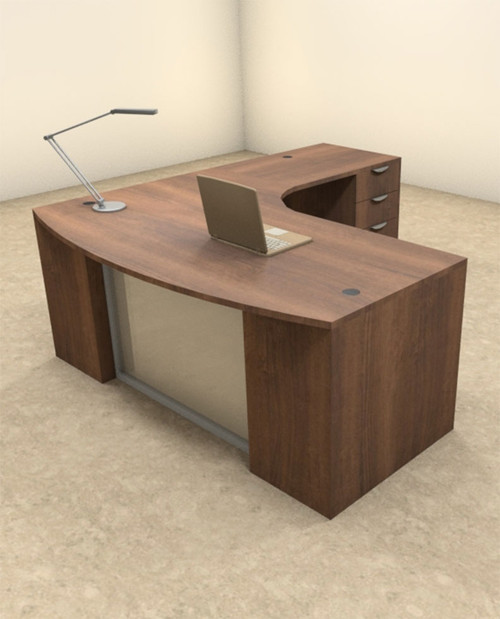 3pc L Shaped Modern Contemporary Executive Office Desk Set, #OF-CON-L59