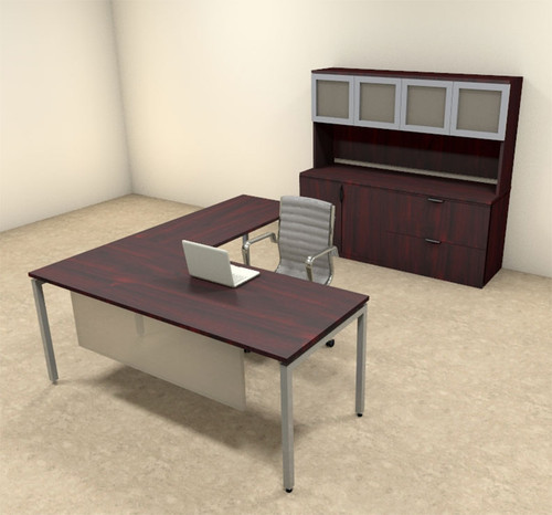 4pc L Shaped Modern Contemporary Executive Office Desk Set, #OF-CON-L73