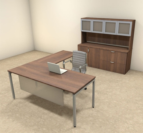 4pc L Shaped Modern Contemporary Executive Office Desk Set, #OF-CON-L74