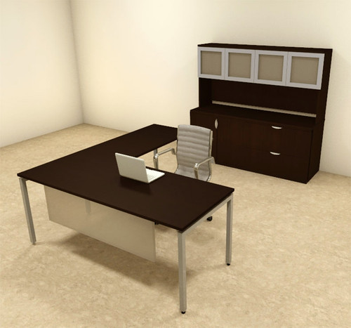 4pc L Shaped Modern Contemporary Executive Office Desk Set, #OF-CON-L75